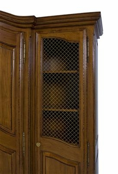 three piece breakfront with wire mesh doors (chateau finish)