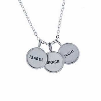 three small rimmed name charm necklace