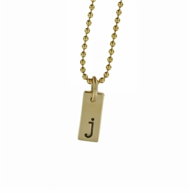 "tiny 1/2"" 14k solid gold small id tag necklace"
