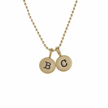 tiny gold duo charm necklace
