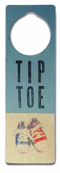 tip toe sneaker door sign