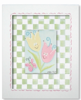 tiptoe tulips wall art - green check - SOLD OUT