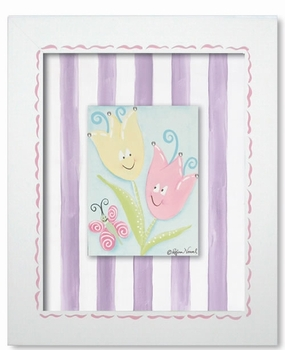 tiptoe tulips wall art - pink stripe - SOLD OUT