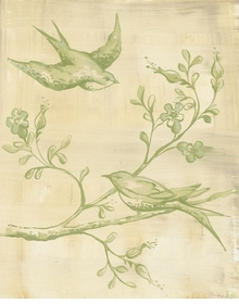 toile birdies - green wall art