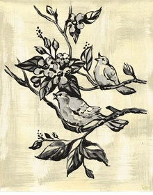 toile birdies in tree cream and black wall art