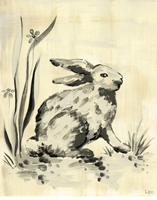 toile bunny cream and black wall art
