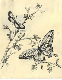 toile butterflies, cream and black wall art