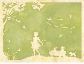 toile girl pulling wagon wall art
