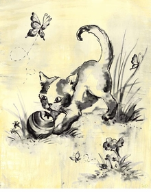 toile kitty cream and black wall art
