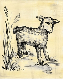 toile lamb cream and black wall art