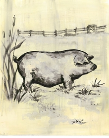 toile piggy cream and black wall art