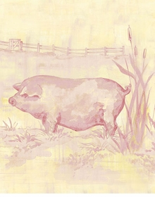 toile piggy pink wall art