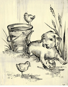 toile puppy cream and black-wall art