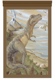 towering t-rex prehistoric brown personalized wall hanging