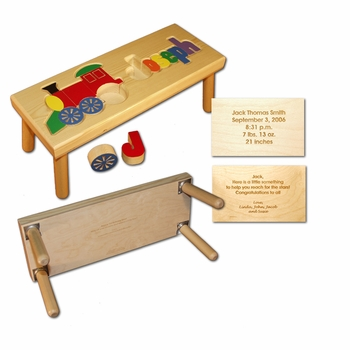 train and name puzzle stool