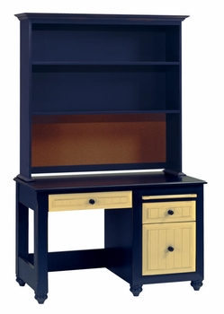 Treasures Desk with Keyboard Shelf and File Drawer and Hutch with Corkboard