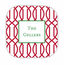 trellis reverse cherry hardback rounded coaster<br>(set of 4)