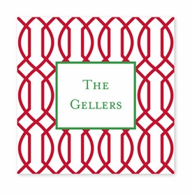 trellis reverse cherry square paper coaster<br>set of 50