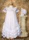 tricot christening gown with ruffles & lace
