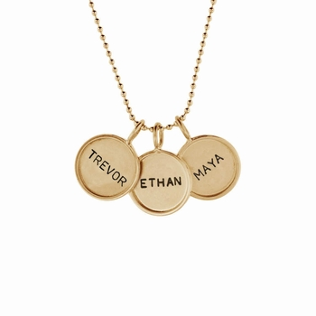 triplet small 14k rimmed name necklace