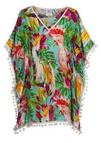 tropical birds batwing kaftan
