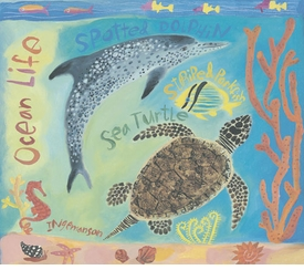 tropical sea creatures wall art