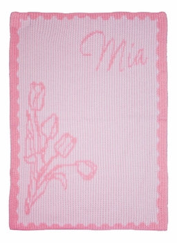 tulips and name stroller blanket