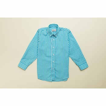turquoise gingham button down shirt
