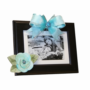 turquoise rose dark picture frame