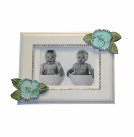 turquoise roses with bling picture frame