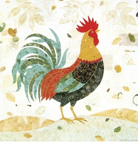 turquoise tail rooster wall art