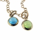 twin gold cabochons necklace
