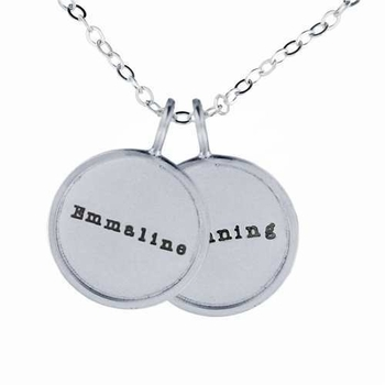 twin medium rimmed name charm necklace