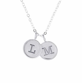 twin rimmed sterling silver charm necklace