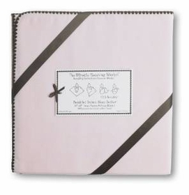 ulitmate swaddling blanket by swaddle designs - pink with brown trim