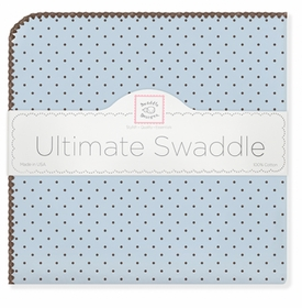 ultimate swaddling blanket by swaddle designs - blue with brown dots