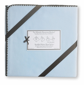 ultimate swaddling blanket by swaddle designs - blue with brown trim