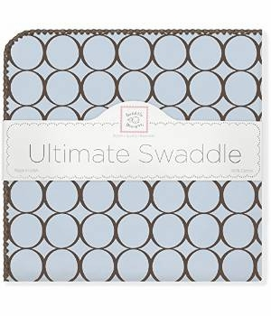 ultimate swaddling blanket by swaddle designs - brown mod on blue