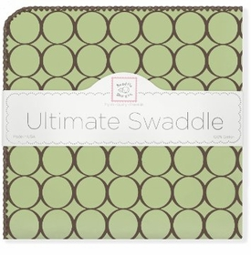 ultimate swaddling blanket by swaddle designs - brown mod on lime