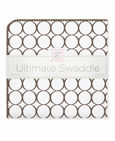 ultimate swaddling blanket by swaddle designs - brown mod on white