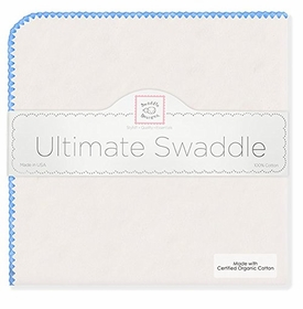 ultimate swaddling blanket by swaddle designs - natural with blue trim
