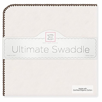 ultimate swaddling blanket by swaddle designs - natural with brown trim