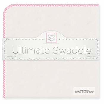 ultimate swaddling blanket by swaddle designs - natural with pink trim
