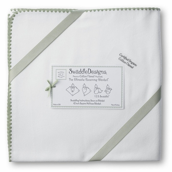 ultimate swaddling blanket by swaddle designs - organic white with sage trim