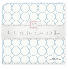 ultimate swaddling blanket by swaddle designs - pastel blue mod on white