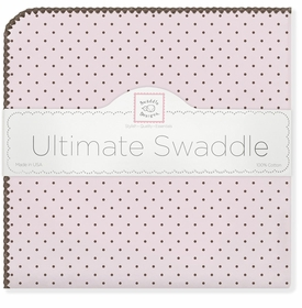 ultimate swaddling blanket by swaddle designs - pink with brown dots