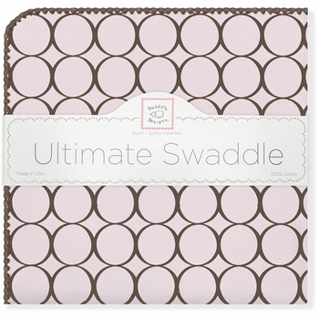 ultimate swaddling blanket by swaddle designs - pink with brown mod