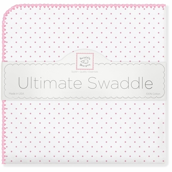 ultimate swaddling blanket by swaddle designs - white with bright pink dots