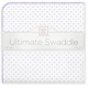 ultimate swaddling blanket by swaddle designs - white with lavender dots