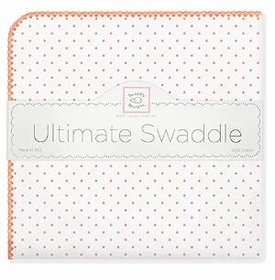 ultimate swaddling blanket by swaddle designs - white with orange dots
